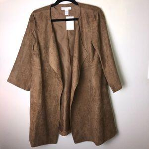 NWT Faux Suede Open Drape Coat